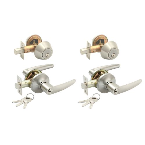 Syneco Brushed Nickel Twin Combination Isabella Entrance Lever - 2 Pack