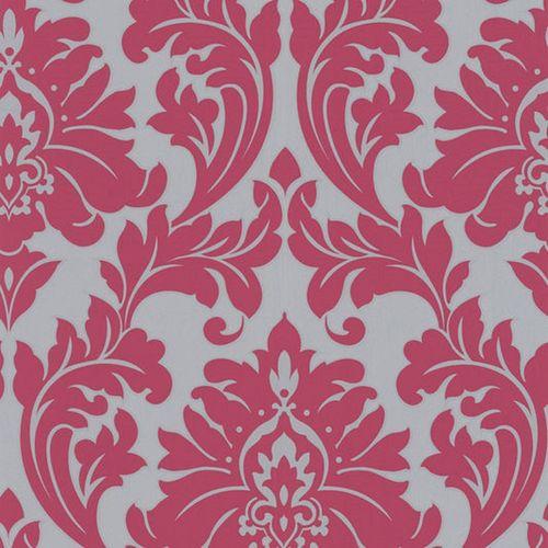 Superfresco Easy 52cm x 10m Pink/Silver Majestic Damask Wallpaper