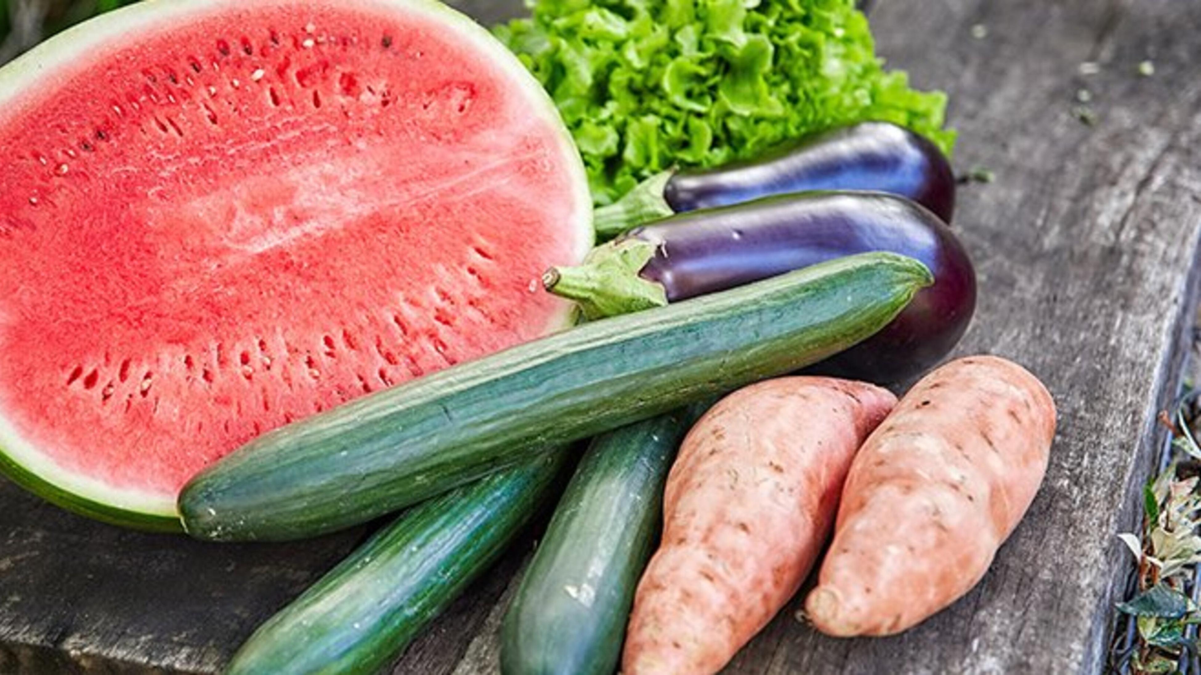 Watermelong, cucumbers, sweet potatoes and eggplants
