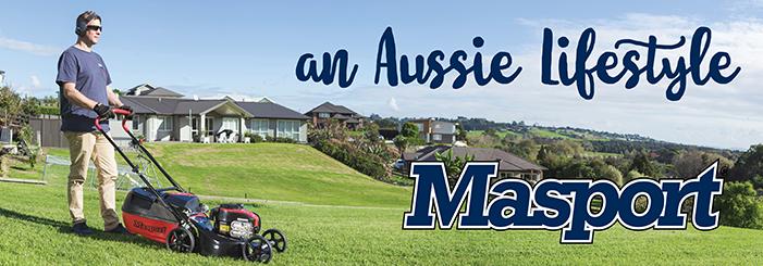 Man mowing lawn, with title an Aussie lifestyle. Masport logo.