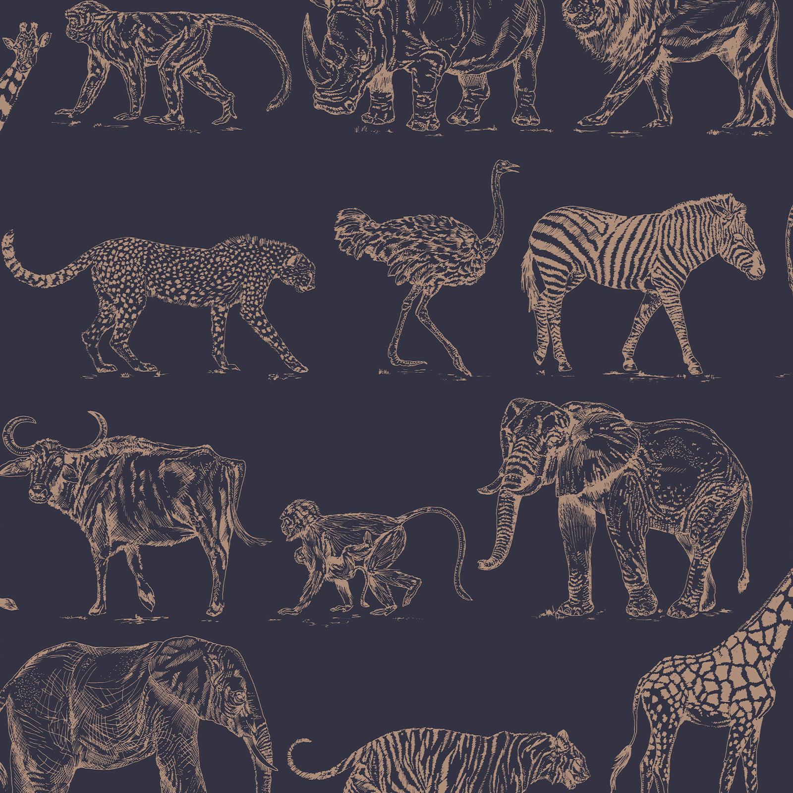 Boutique Safari Midnight Wallpaper - Safari Midnight 52cm x 10m