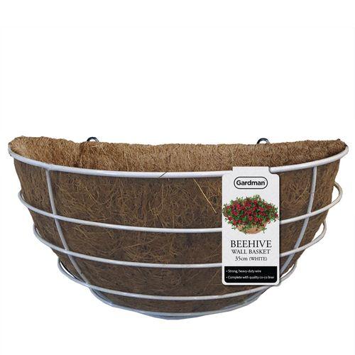 Gardman 35cm White Powder Coated Beehive Wall Basket
