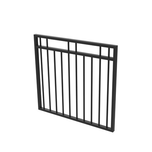 Protector Aluminium 975 x 900mm Double Top Rail 2 Up 2 Down Garden Gate - To Suit Self Closing Hinges - Satin Black