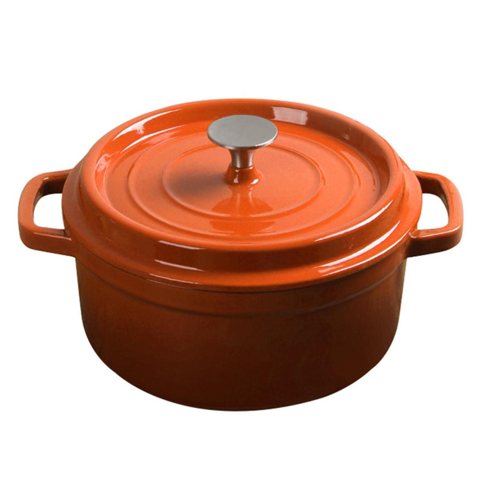 SOGA Cast Iron 3.6L Porcelain Casserole Stewpot Orange