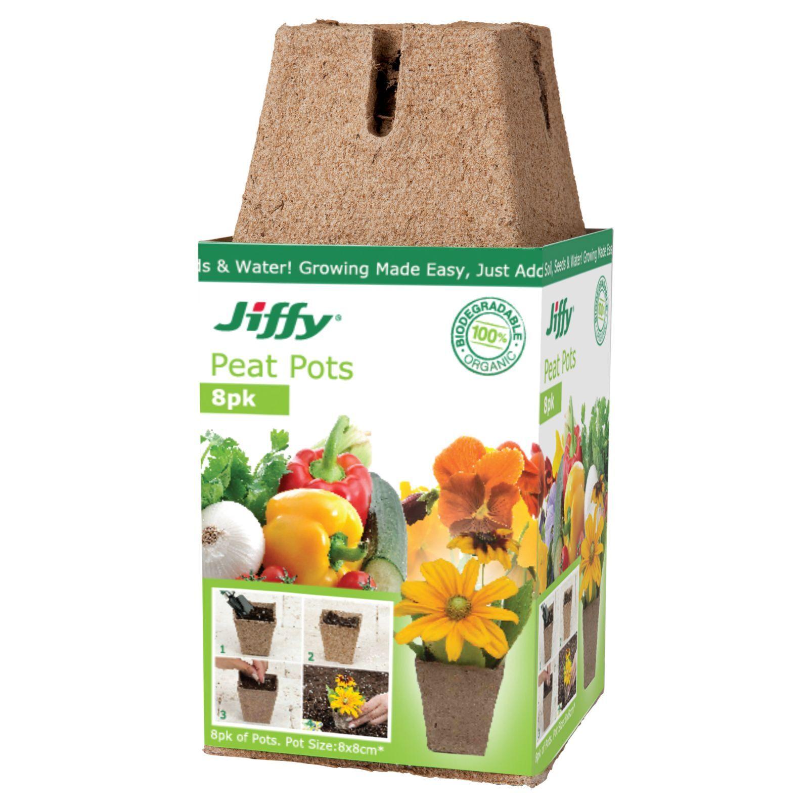 Mr Fothergill's 8cm Jiffy Square Peat Propagation Pots - 8 Pack