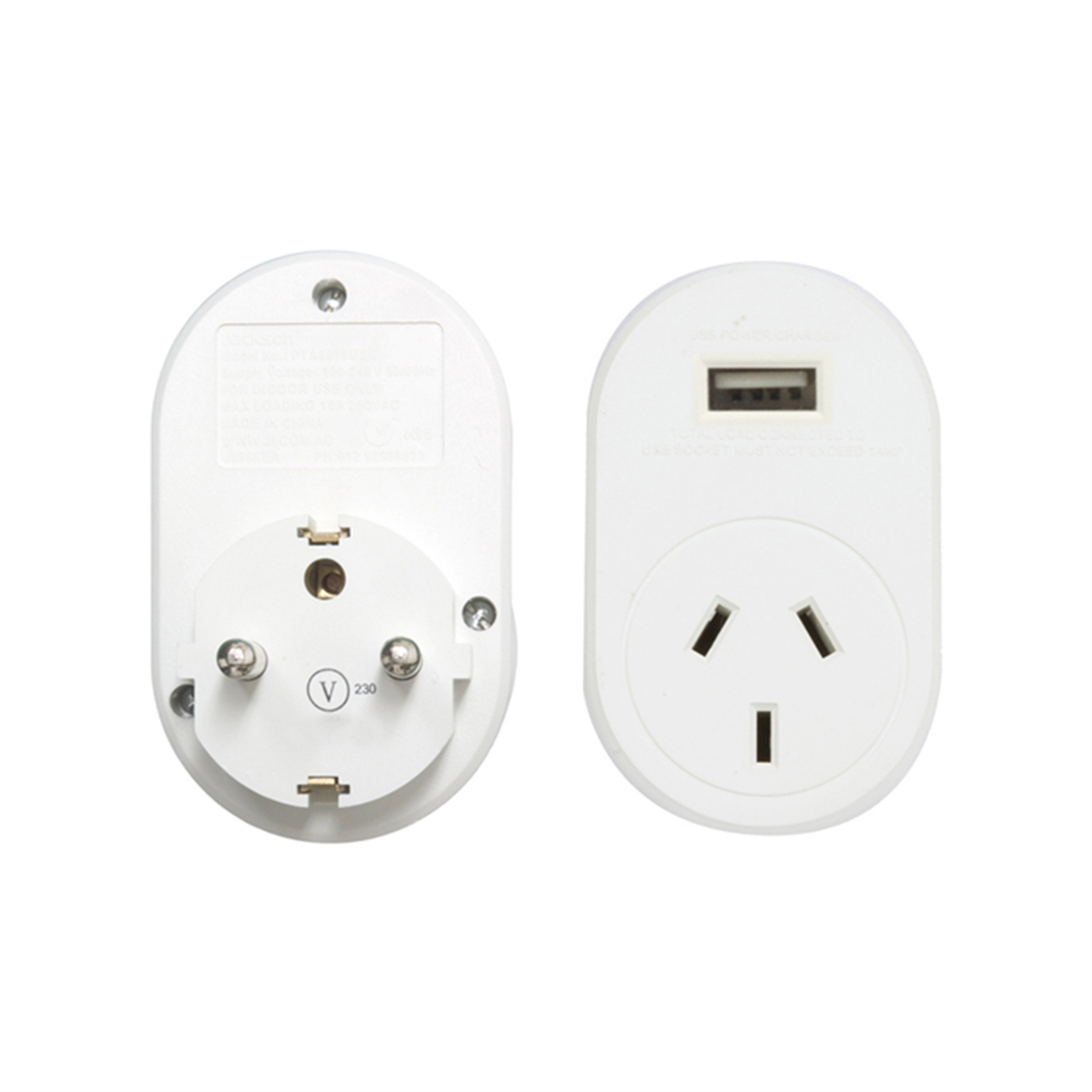 Jackson International Travel Adaptor + USB Charging Outlet  For Australian & New Zealand Travellers
