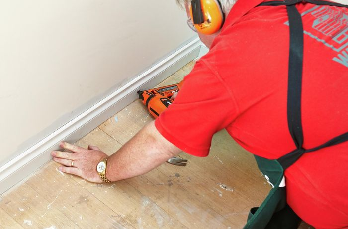 DIY Step Image - How to install skirting boards . Blob storage upload.