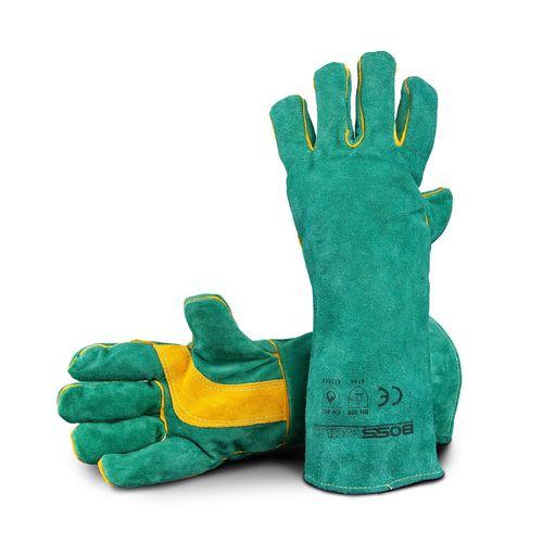 """Bossweld 16"""" Green & Gold Welding Gloves"""
