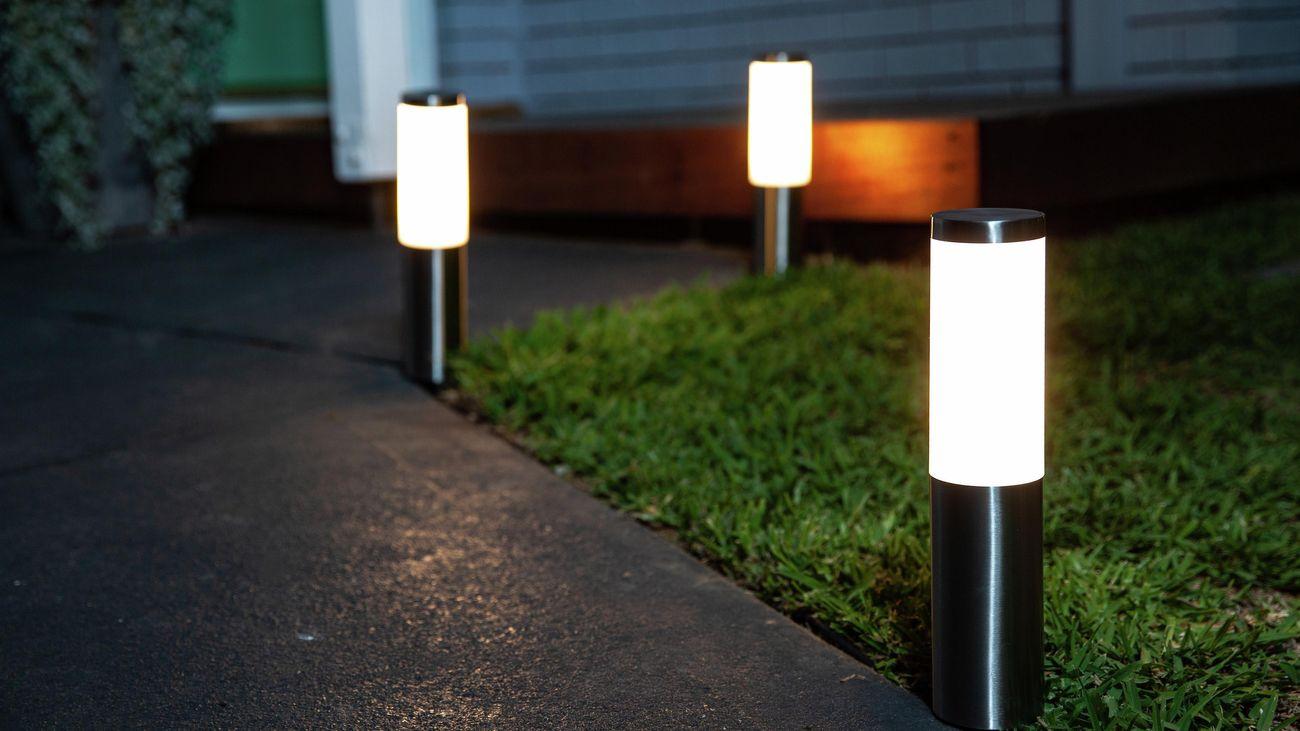 Bollard lights along garden path.