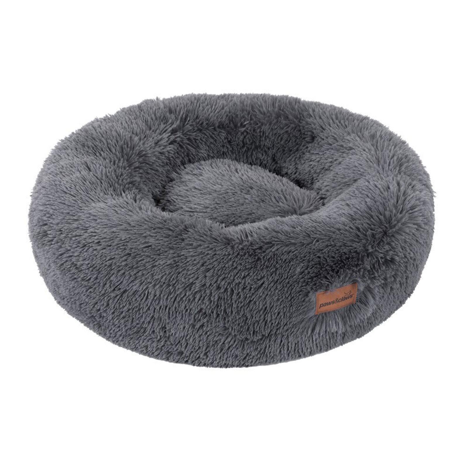 Paws & Claws 70cm x 70cm Large Calming Plush Pet/Dog Round Bed/Mattress Grey