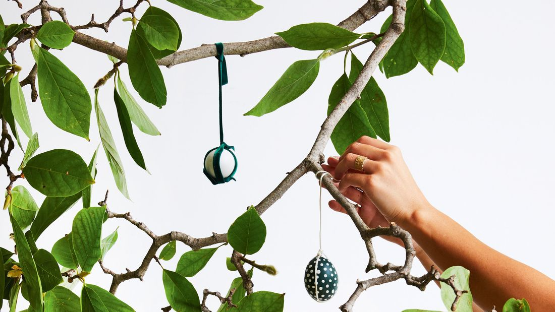 Easter eggs hanging from tree.