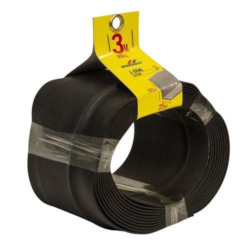 Moroday 25 x 60mm x 3m Black Self Adhesive L-Section Seal