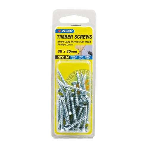 Zenith 8G x 30mm Zinc Plated Hinge-Long Threads Countersunk Head Timber Screws - 30 Pack
