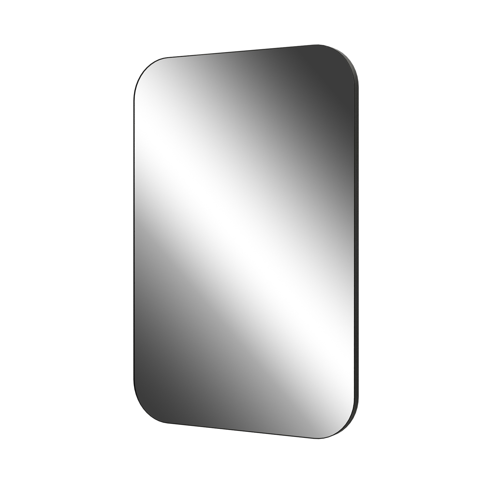 Living Elements 600 x 900 x 23mm Black Framed Rounded Corner Mirror