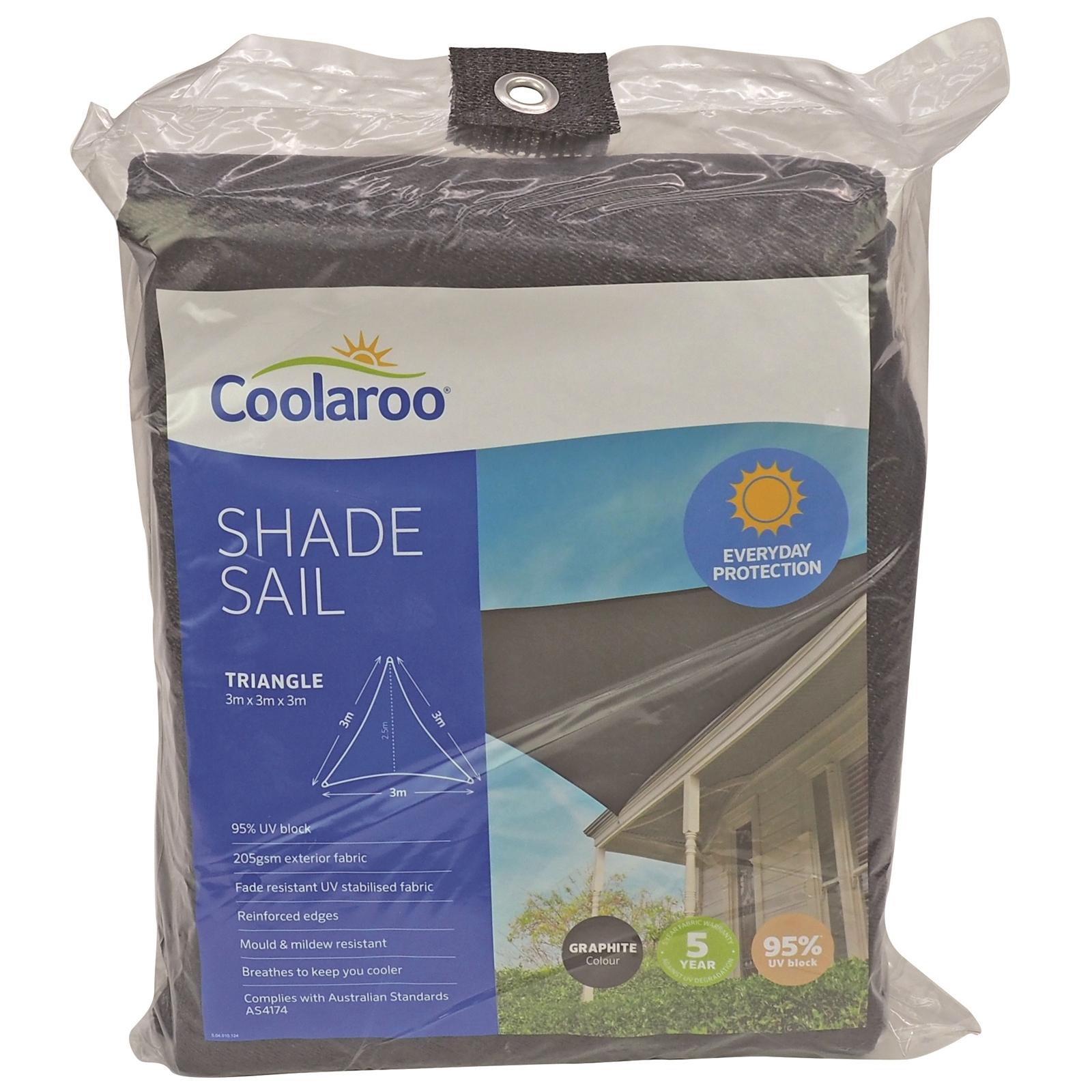 Coolaroo 3.0m Triangle Graphite Shade Sail