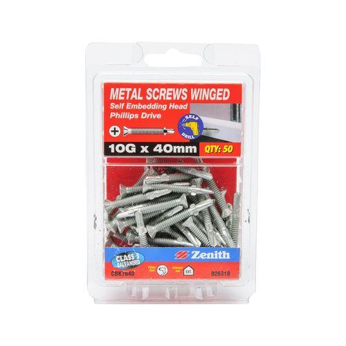 Zenith 10G x 40mm Galvanised Self Embedding Head Metal Screws Winged - 50 Pack