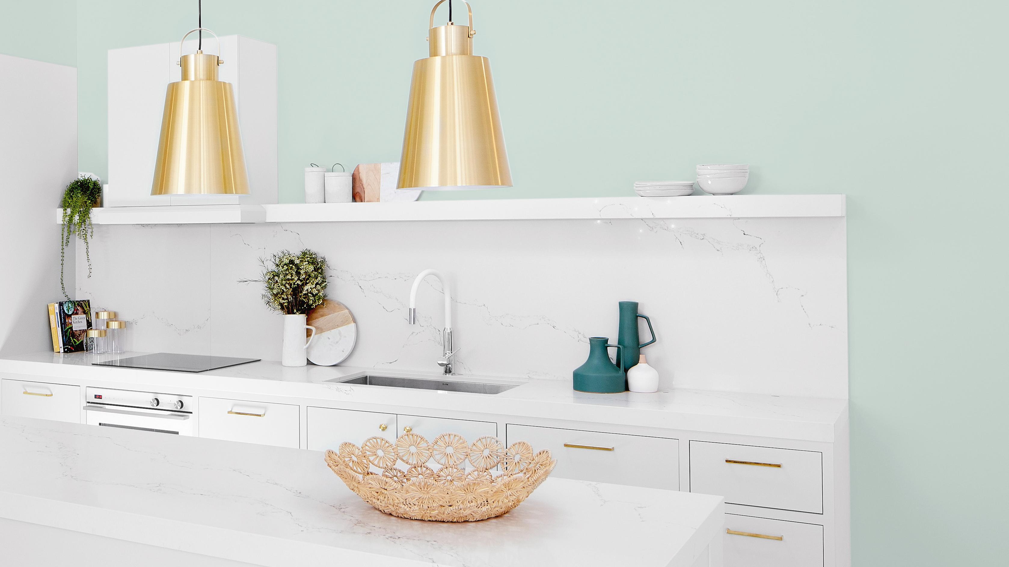 Marble kitchen - Aqua painted wall - Kitchen - Medium - Taubmans