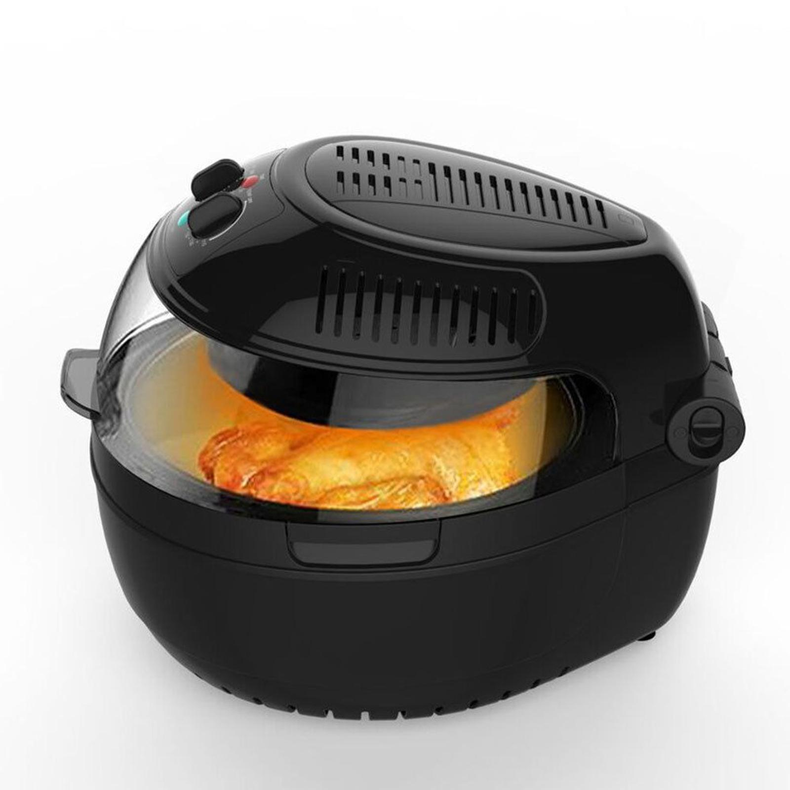 Large 10L Turbo Airfryer/IR/Food Rotation Low Fat Healthy Cooking 1300W Black