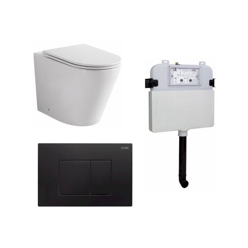 Zumi Java Concealed Cistern With ABS Square Matt Black Flush Plate And Pan