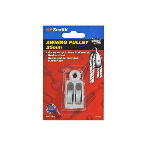 Zenith Double Wheel Awning Pulley 25mm Galvanised