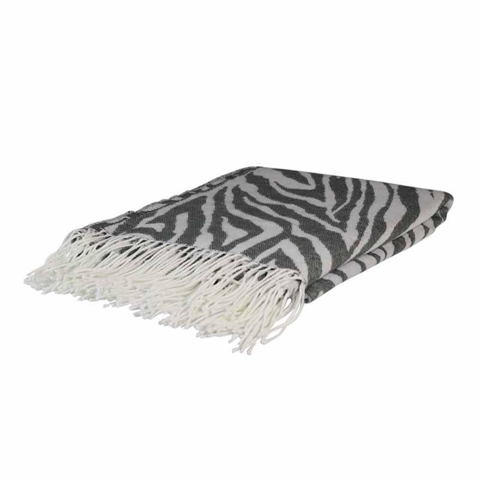 Zebra Charcoal Jacquard Throw