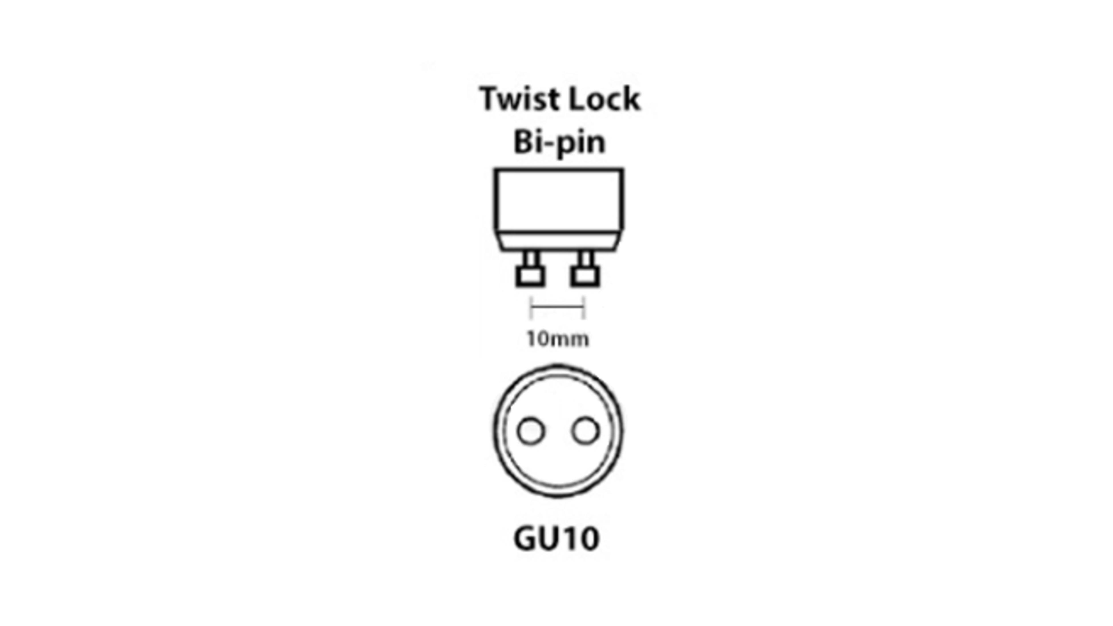 A diagram of a GU10 halogen capsule bulb.