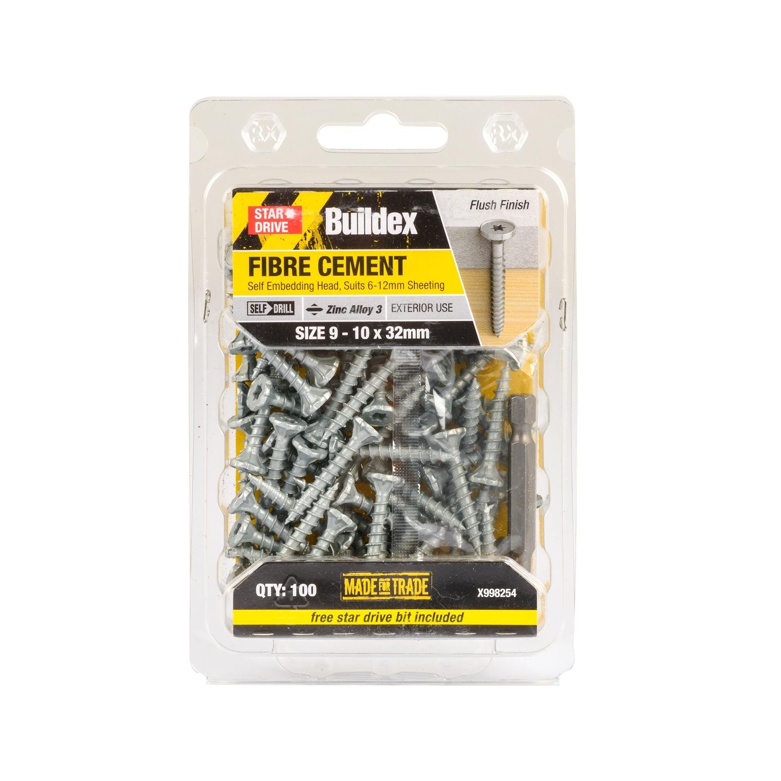 Buildex 9 - 10 x 32mm Zinc Alloy 3 Star Head Fibre Cement Screws - 100 Pack
