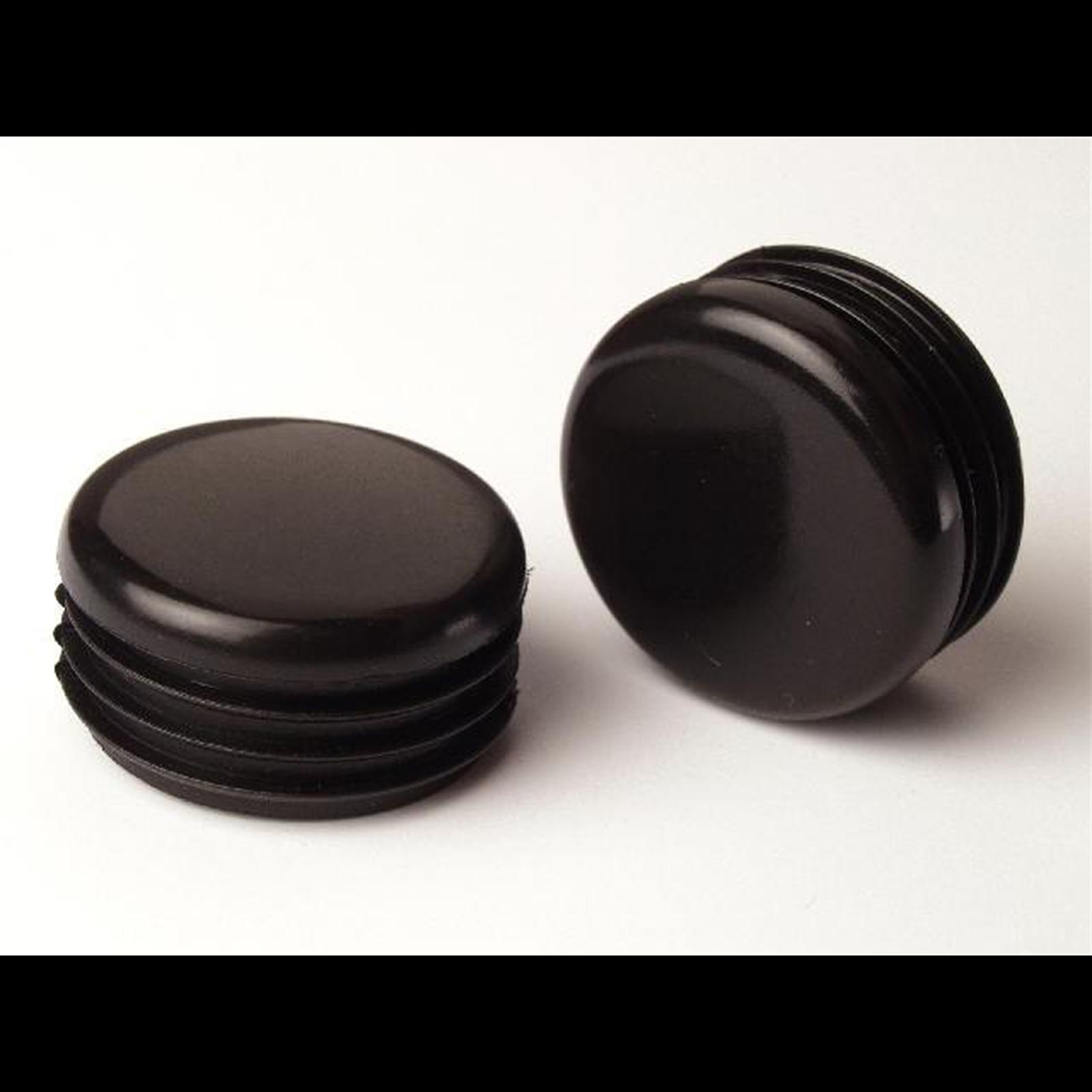 TIC 19mm Black Round Plastic Internal Chair Tip - 4 Piece