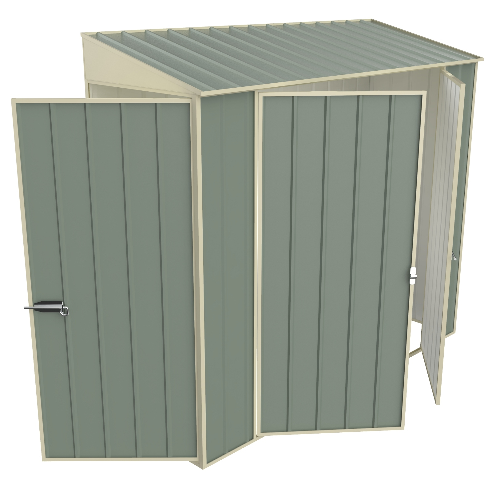 Build-a-Shed 0.8 x 2.3 x 2.0m Skillion Double Hinged Side Door Shed - Green
