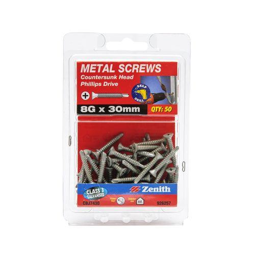 Zenith 8G x 30mm Galvanised Countersunk Head Metal Screws - 50 Pack