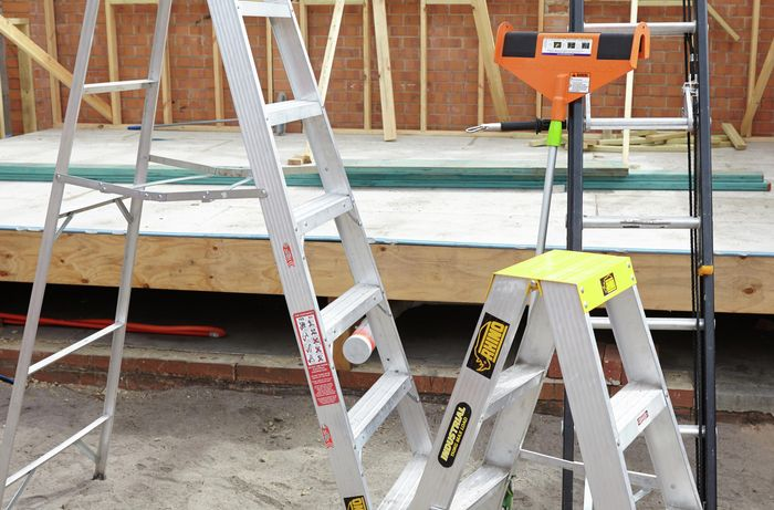 Small and large step ladders, an extension ladder, a ladder's little helper and a ladder limb