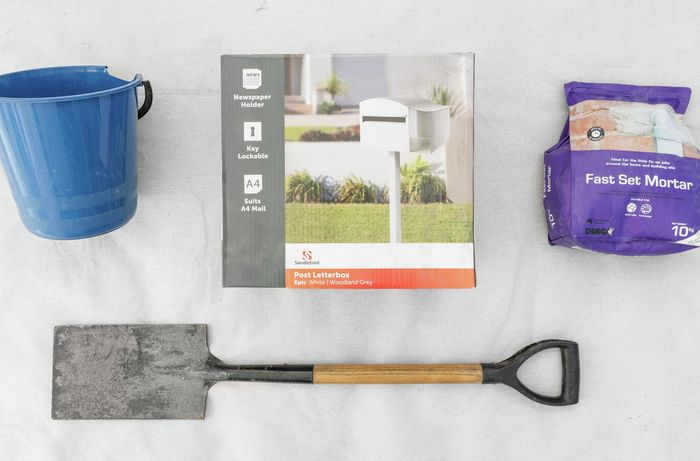 Tools and materials required to install a letterbox