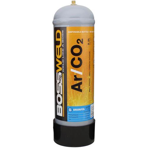 Bossweld 2.2L Argon/CO2 Disposable Gas Bottle