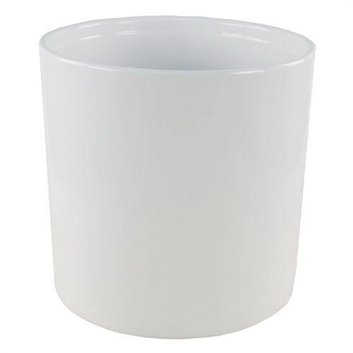 Tuscan Path 20 x 20cm White Ava Ceramic Cylinder Pot