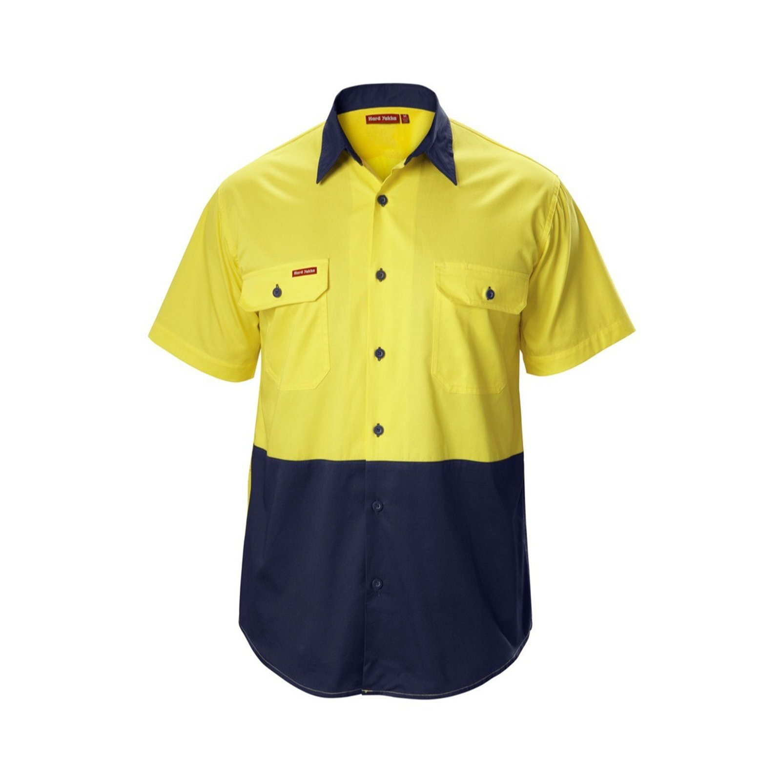 Hard Yakka Koolgear Short Sleeve Shirt - S Yellow/Navy