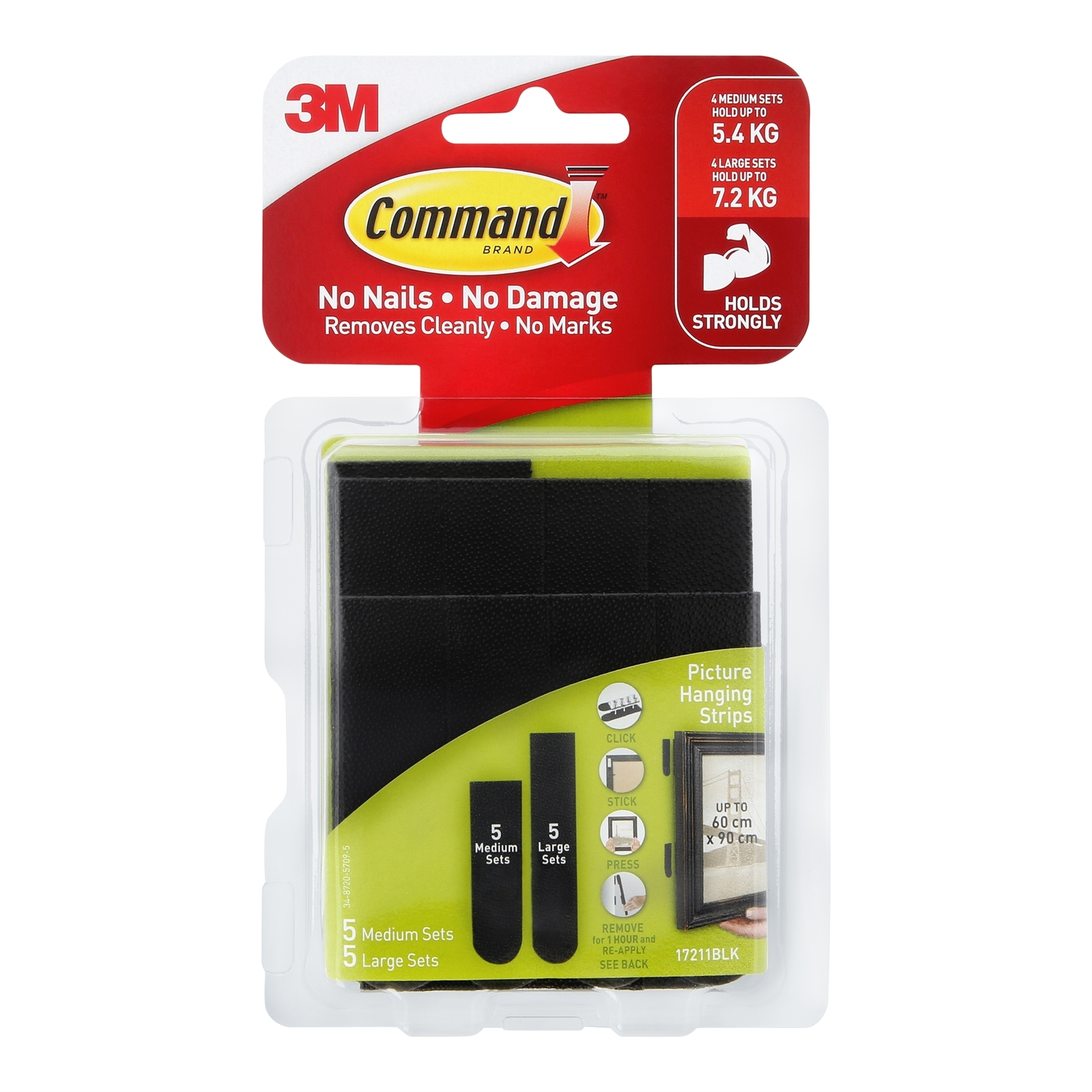 Command™ Medium / Large Black Adhesive Picture Hanging Strips Value Pack - 10 Pack