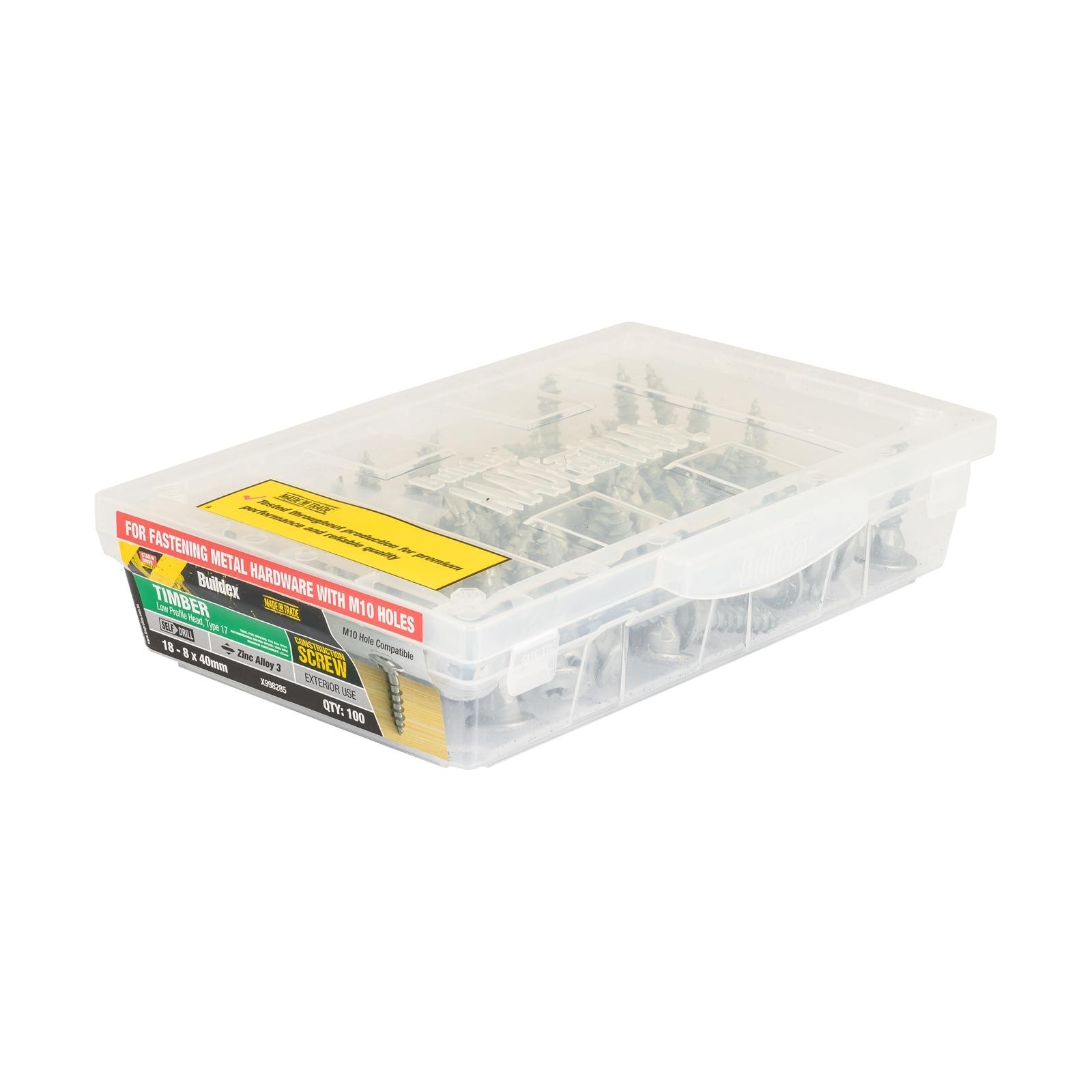 Buildex® 18 - 8 x 40 mm Zinc Alloy 3 Star Head Timber Construction Screws - 100 Pack