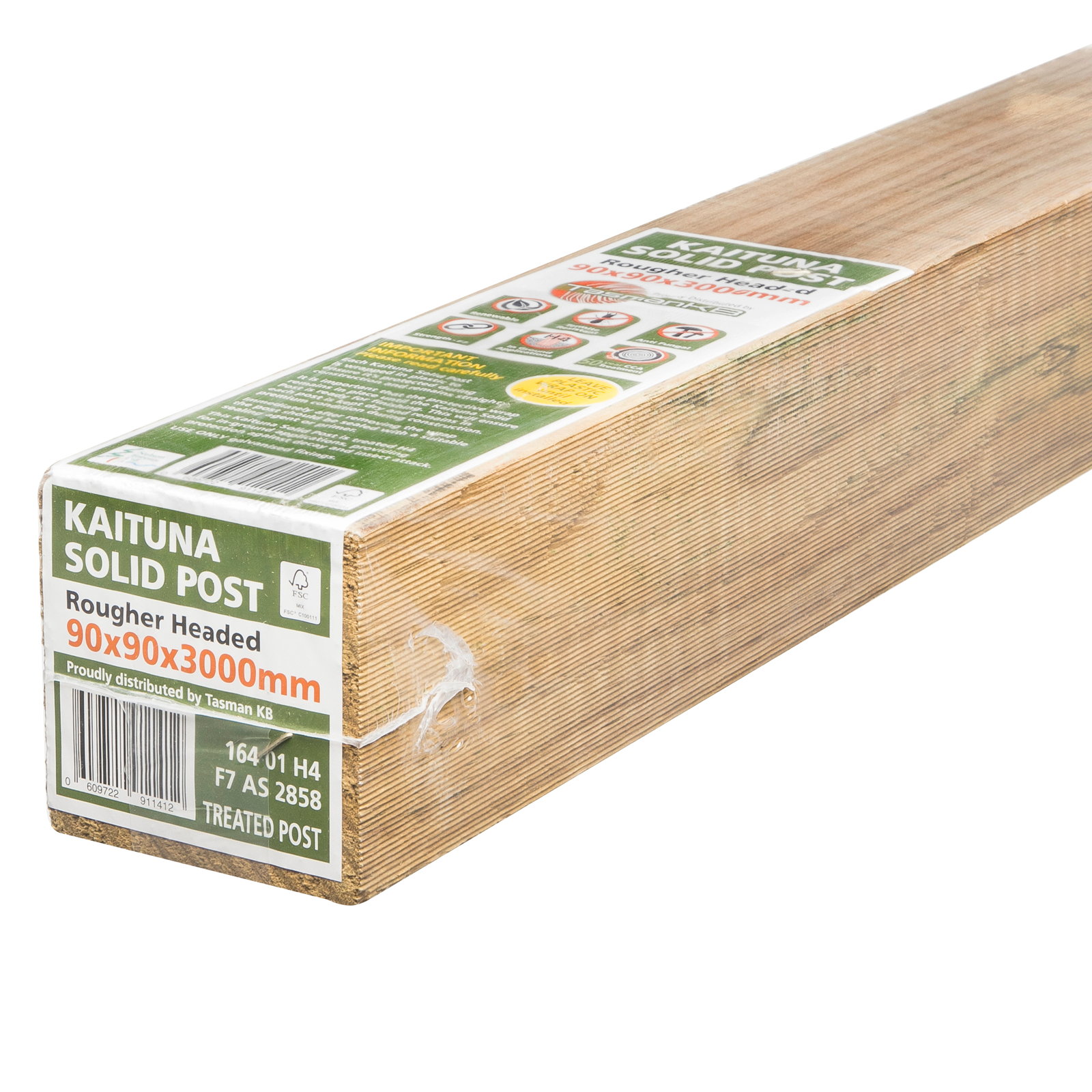 Tasman KB 90mm x 90mm x 3.0m Premium Wrapped F7 KD H4 RH Treated Pine