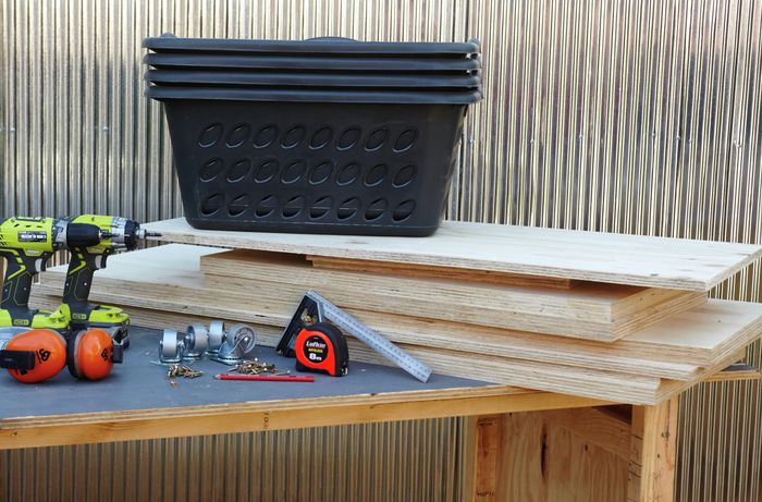 The tools and materials necessary for making a laundry basket dresser