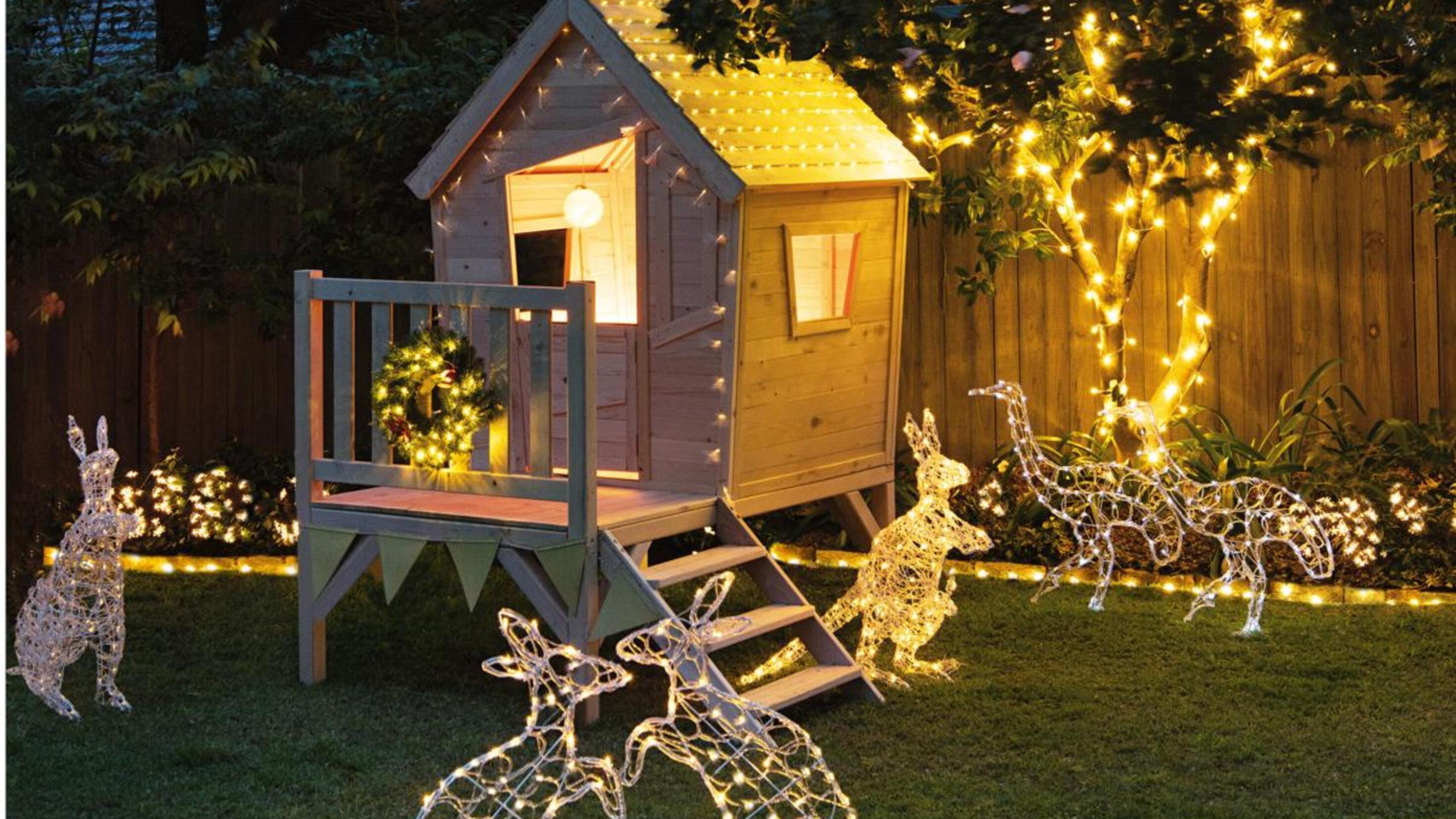 Cubby house with fairy lights.