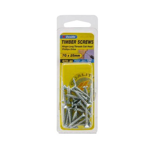 Zenith 7g x 25mm Zinc Plated Hinge-Long Thread Timber Screws - 35 Pack