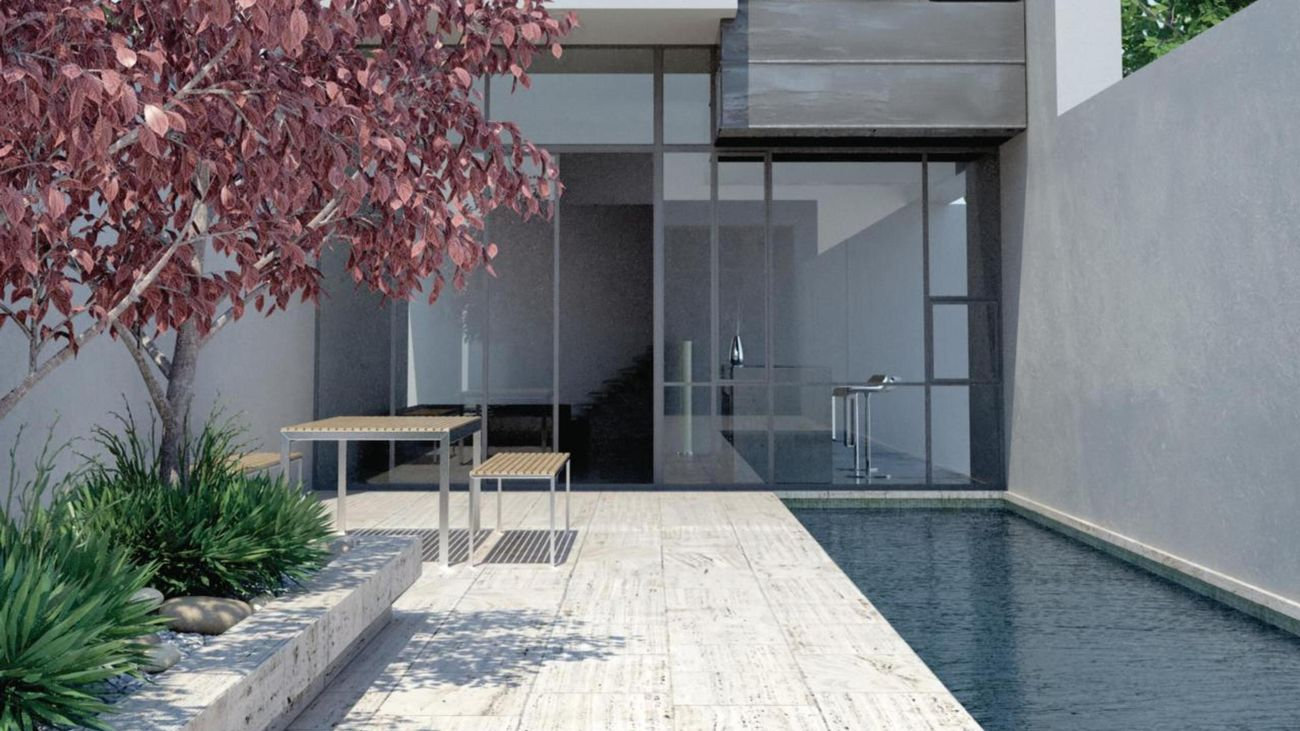 Outdoor area with tree and pool.