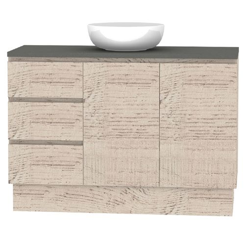 Forme 1200mm Mont Albert Freestanding Vanity With Cement Stone Top And Atom Basin - LH Drawers - Light Ash