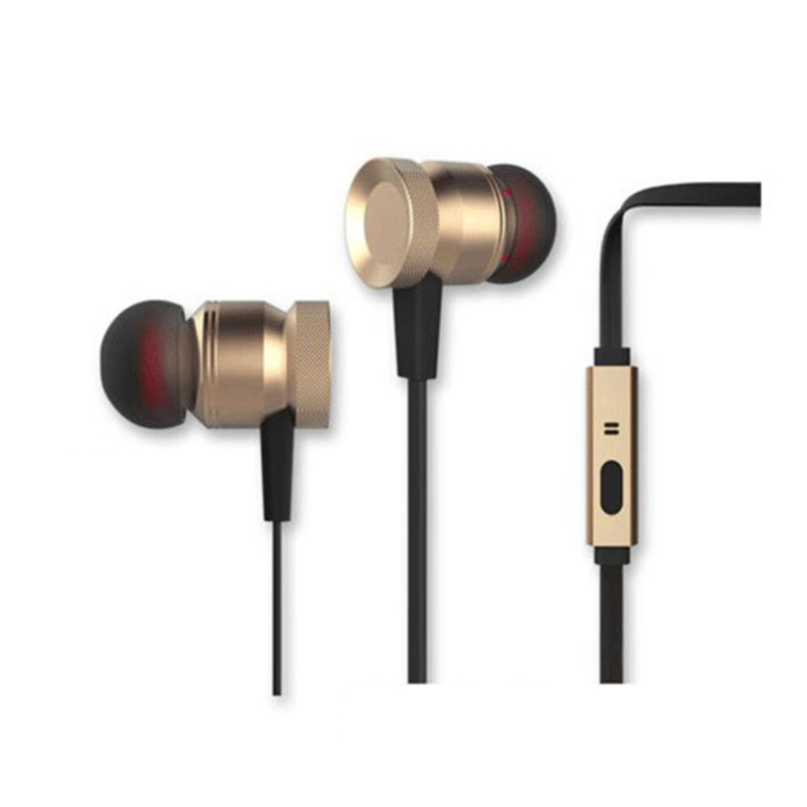 Sansai Metallic Gold Stereo Earphones/Headphones w/ Mic Headset for iPhone
