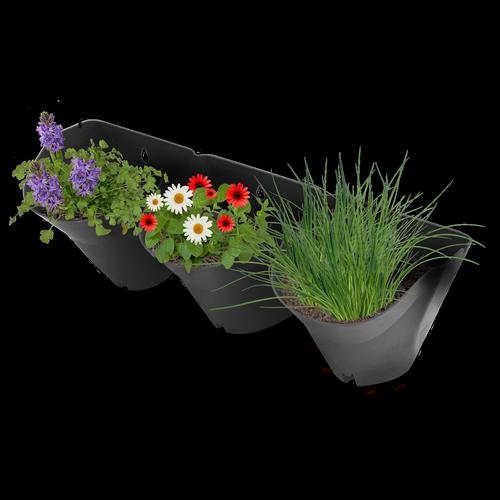 Whites Charcoal 3 Pot Garden Up Vertical Wall Stacker