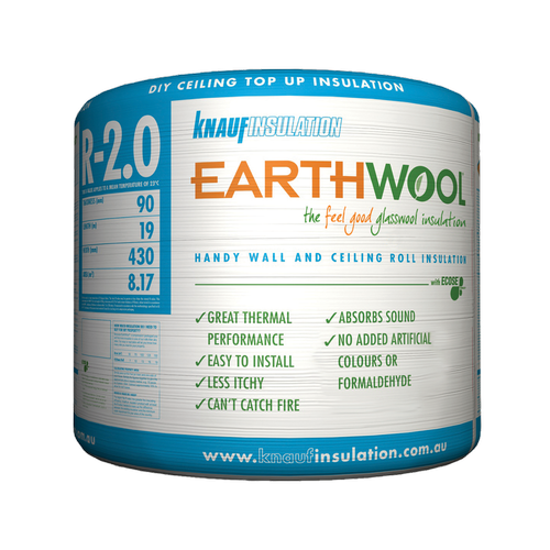 Earthwool R2.0 90mm x 430mm x 19000mm 8.17m² Insulation Multi-Use Roll - Pack of 1