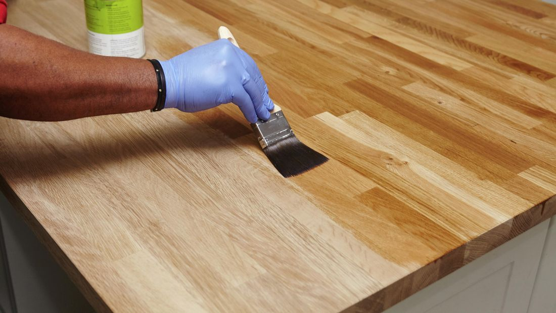 DIY Step Image - How to apply clear hard wax oil to benchtops . Blob storage upload.