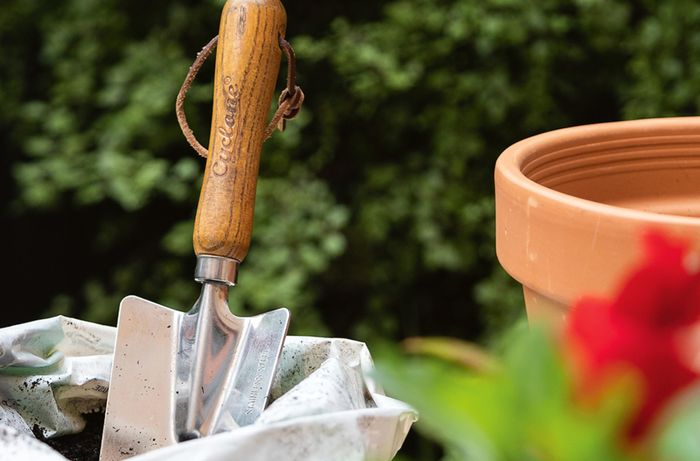 Garden hand tool placed in  a bag of dirt  with green hedge bush as back ground