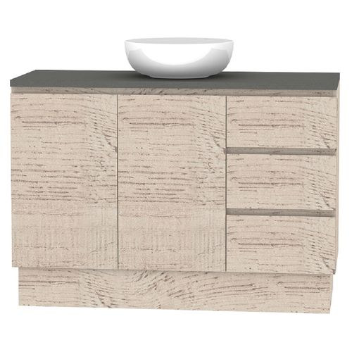 Forme 1200mm Mont Albert Freestanding Vanity With Cement Stone Top And Atom Basin - RH Drawers - Light Ash