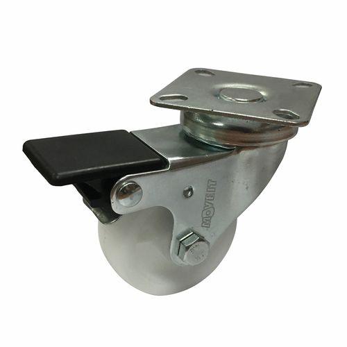 Move It 50mm White Polypropylene Swivel Plate Castor With Brake